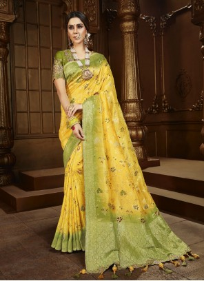 Silk Weaving Yellow Contemporary Saree