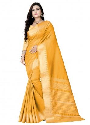 Silk Weaving Work Yellow Traditional Saree