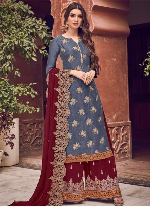 Blue Silk Wedding Bollywood Salwar Kameez