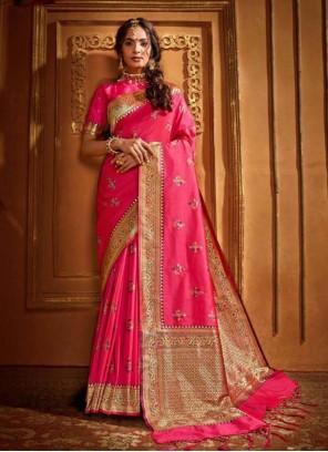 Silk Wedding Pink Classic Saree