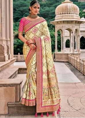 Silk Cream Wedding Classic Saree