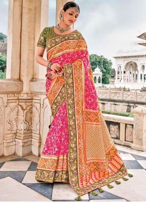 Silk Pink Wedding Contemporary Saree