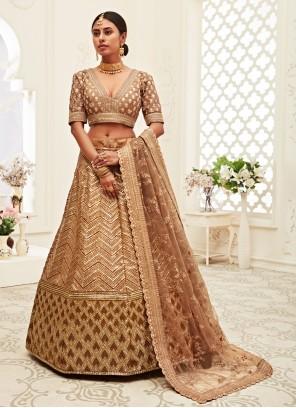 Silk Wedding Designer Brown Lehenga Choli