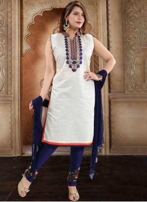 Silk White Resham Trendy Churidar Salwar Kameez