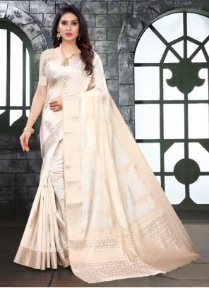 Weaving Zari Work Silk White Trendy Saree