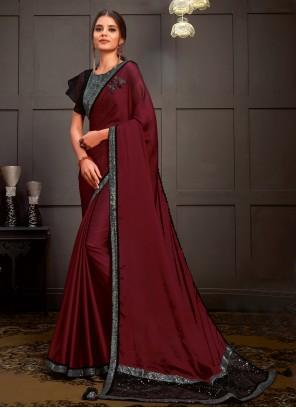 Silk Wine Sequins Designer Saree