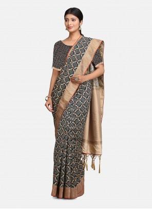 Silk Woven Black and Grey Bollywood Saree
