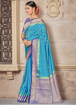 Silk Woven Blue Traditional Saree