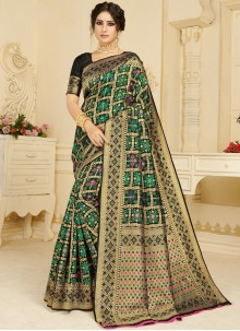 Silk Woven Casual Saree in Black