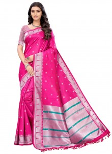 Silk Woven Classic Saree in Pink