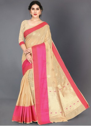 Silk Woven Cream Classic Saree