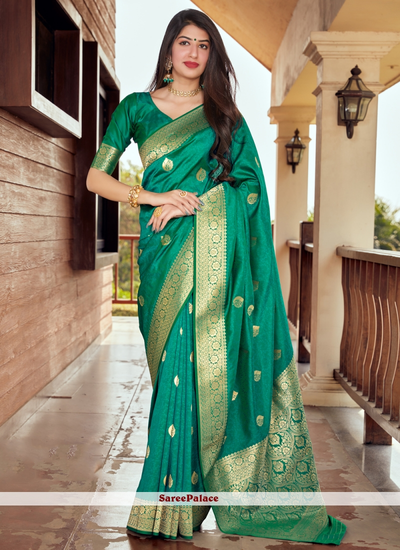 Silk Woven Green Designer Traditional Saree