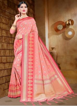 Pink Silk Woven Designer Traditional Saree