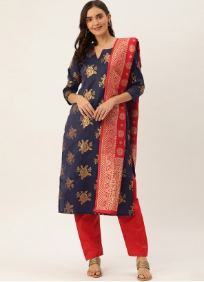 Silk Woven Navy Blue Pant Style Suit