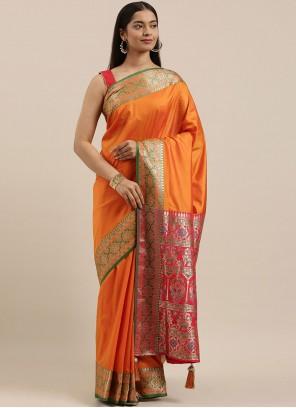 Silk Woven Orange Designer Saree
