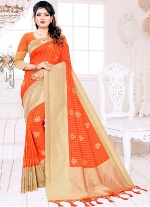 Silk Woven Orange Traditional Designer Saree
