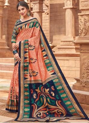 Silk Woven Peach Designer Traditional Saree