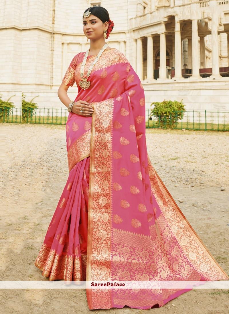 Silk Woven Pink Designer Traditional Saree