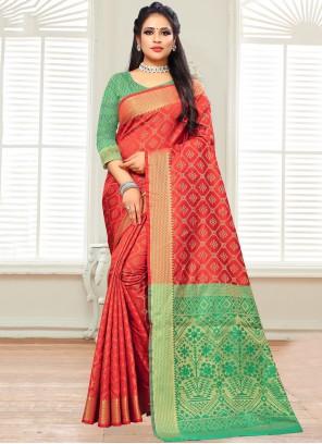 Silk Woven Red Classic Saree