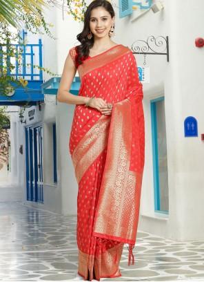 Silk Woven Red Traditional Designer Saree
