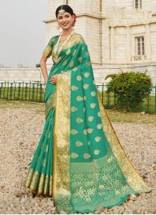 Silk Woven Sea Green Designer Traditional Saree