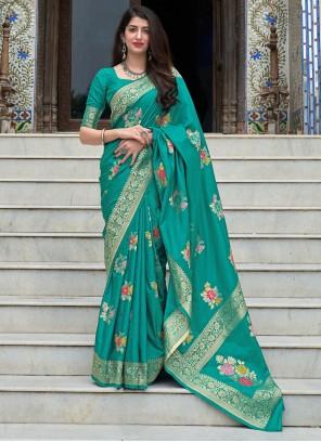 Silk Woven Sea Green Traditional Designer Saree