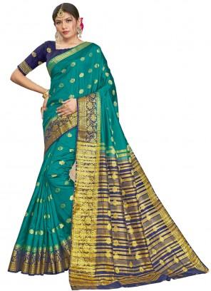 Silk Woven Sea Green Traditional Saree