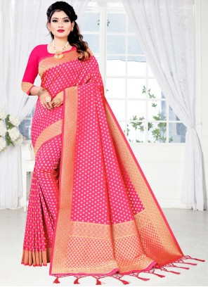 Silk Woven Traditional Designer Saree in Pink