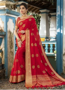 Silk Woven Traditional Designer Saree in Red
