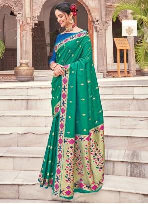 Green Silk Woven Traditional Saree