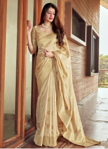 Silk Woven Traditional Saree in Beige