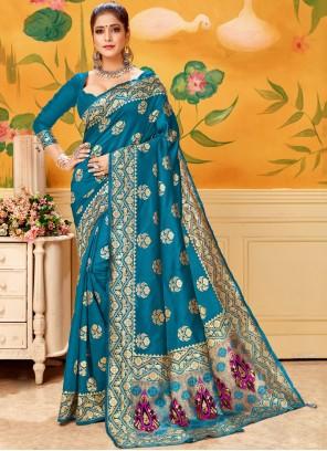 Silk Woven Trendy Saree in Firozi