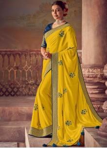 Silk Yellow Designer Saree