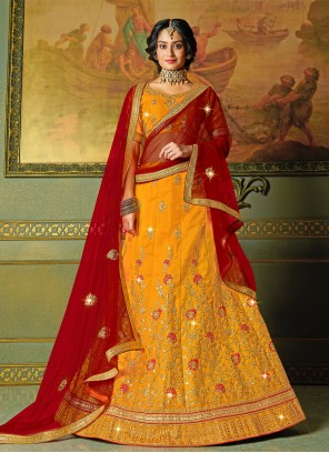 Silk Yellow Embroidered Bollywood Lehenga Choli