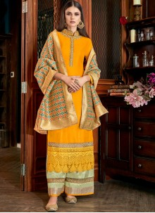 Silk Yellow Embroidered Palazzo Salwar Suit