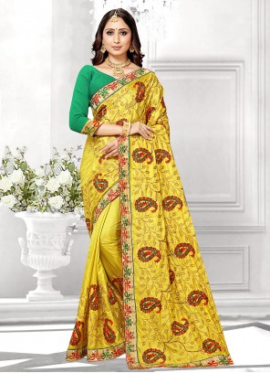 Silk Yellow Embroidered Traditional Saree