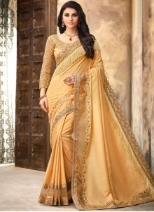 Silk Yellow Patch Border Trendy Saree