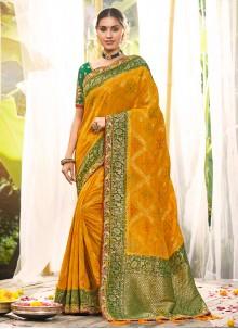 Silk Yellow Resham Traditional Saree