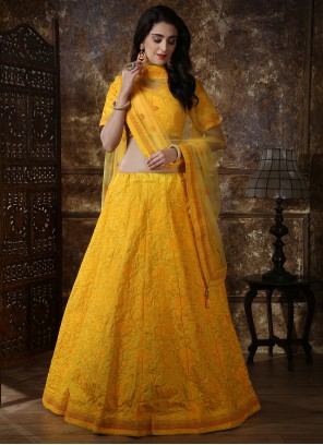 Silk Yellow Thread Work A Line Lehenga Choli