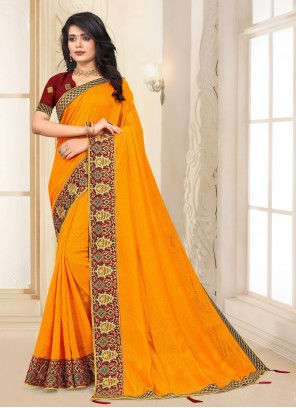 Silk Yellow Trendy Saree