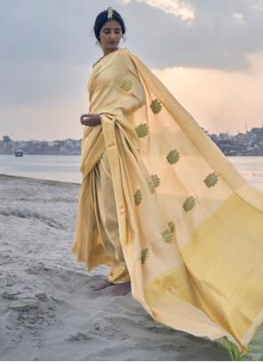 Silk Yellow Weaving Contemporary Saree