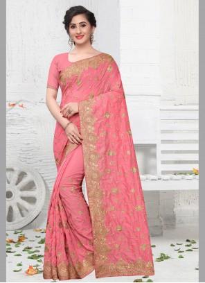 Pink Silk Zari Contemporary Saree
