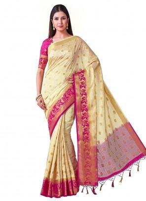 Silk Zari Cream Designer Traditional Saree