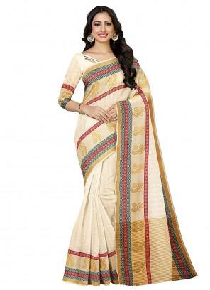 Silk Zari Cream Traditional Designer Saree
