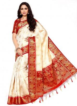 Silk Zari Designer Cream Traditional Saree