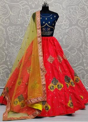 Silk Zari Lehenga Choli in Red