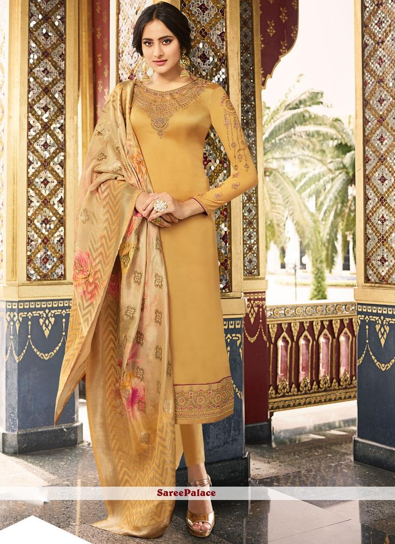 Silk Zari Mustard Salwar Kameez
