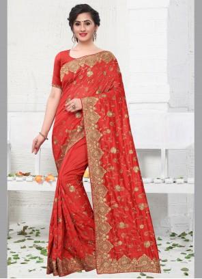 Silk Zari Red Designer Bollywood Saree