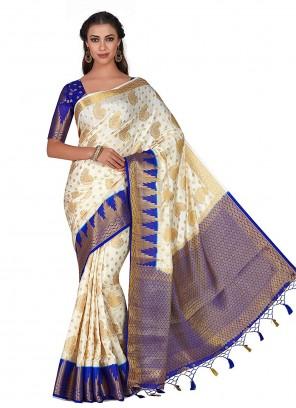 Silk Zari Traditional Designer Saree in Off White