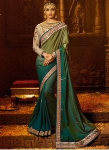 Green Silk Zari Work Trendy Saree